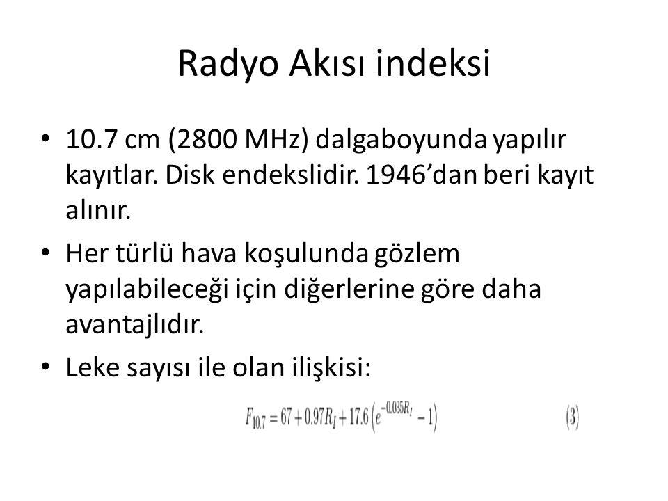 Radyo Akısı indeksi 10.7 cm (2800 MHz) dalgaboyunda yapılır kayıtlar. Disk endekslidir. 1946'dan beri kayıt alınır. Her türlü hava koşulunda gözlem ya
