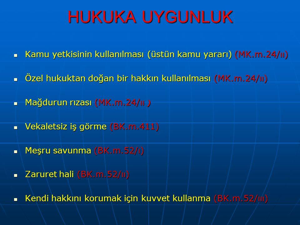 HUKUKA UYGUNLUK Kamu yetkisinin kullanılması (üstün kamu yararı) (MK.m.24/ıı) Kamu yetkisinin kullanılması (üstün kamu yararı) (MK.m.24/ıı) Özel hukuk