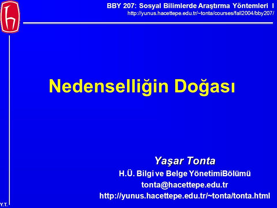 BBY 207: Sosyal Bilimlerde Araştırma Yöntemleri I http://yunus.hacettepe.edu.tr/~tonta/courses/fall2004/bby207/ Y.T. Nedenselliğin Doğası Yaşar Tonta