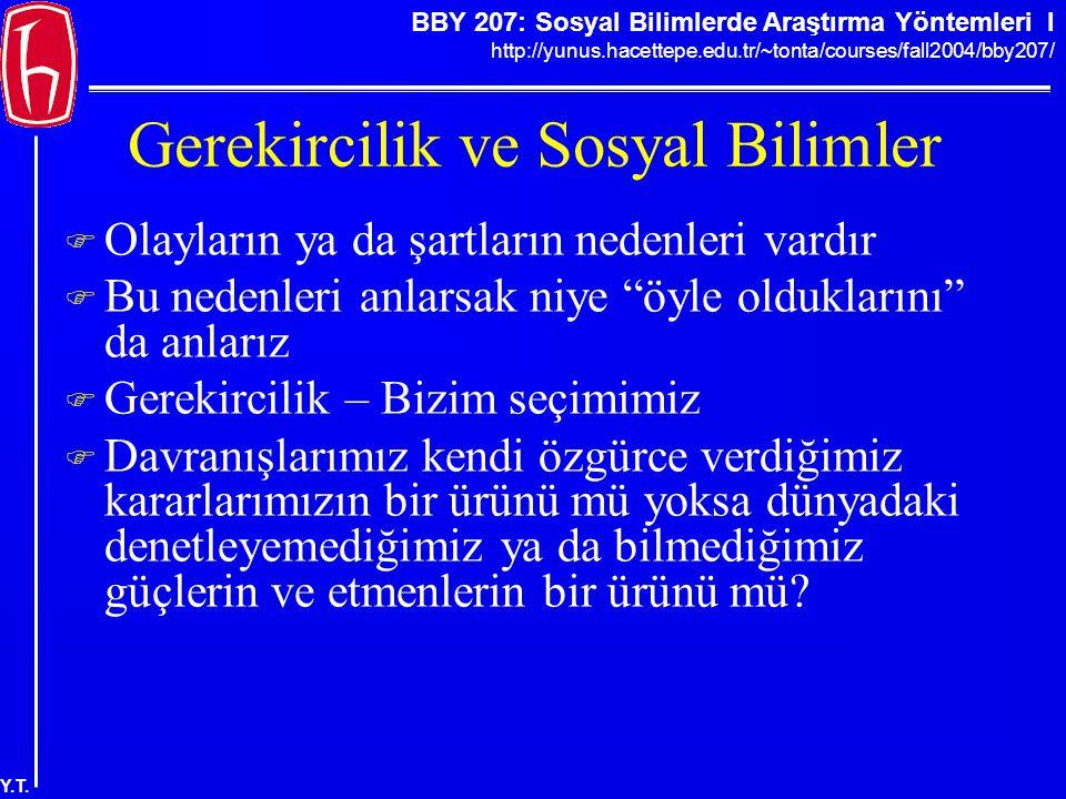 BBY 207: Sosyal Bilimlerde Araştırma Yöntemleri I http://yunus.hacettepe.edu.tr/~tonta/courses/fall2004/bby207/ Y.T. Gerekircilik ve Sosyal Bilimler 