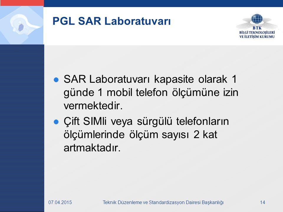 LOGO 07.04.2015Teknik Düzenleme ve Standardizasyon Dairesi Başkanlığı14 PGL SAR Laboratuvarı SAR Laboratuvarı kapasite olarak 1 günde 1 mobil telefon ölçümüne izin vermektedir.