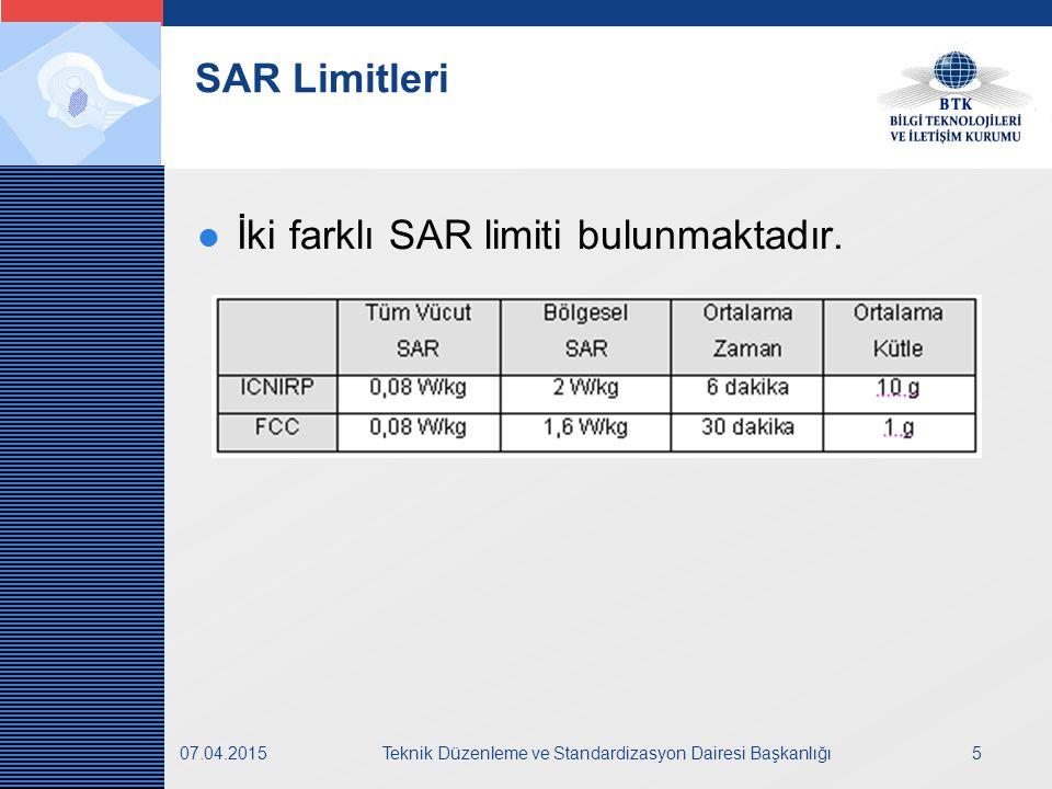LOGO 07.04.2015Teknik Düzenleme ve Standardizasyon Dairesi Başkanlığı5 SAR Limitleri İki farklı SAR limiti bulunmaktadır.