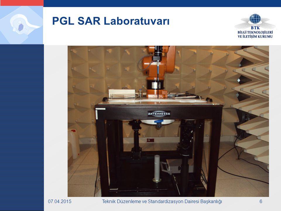 LOGO 07.04.2015Teknik Düzenleme ve Standardizasyon Dairesi Başkanlığı7 SAR ölçümlerinde uygulanan standartlar:  EN 50360  ICNIRP limitleri  20 mW ve üstü cihaz testi yapılması  IEC 62209-1  SAR deney prosedürü PGL SAR Laboratuvarı