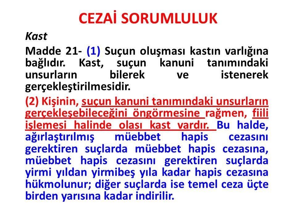 CEZAİ SORUMLULUK Kast Madde 21- (1) Suçun oluşması kastın varlığına bağlıdır. Kast, suçun kanuni tanımındaki unsurların bilerek ve istenerek gerçekleş