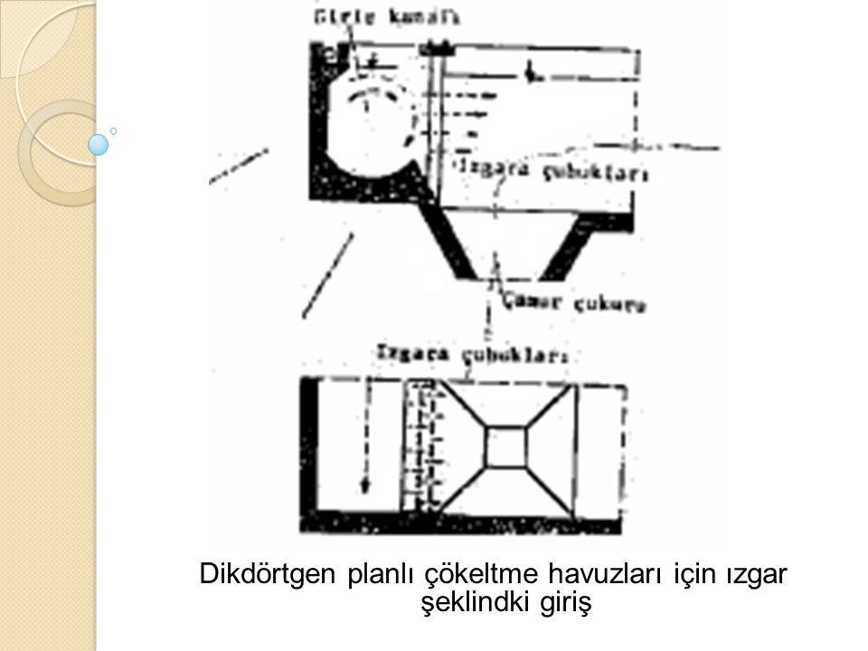 Dikdörtgen planlı çökeltme havuzları için ızgar şeklindki giriş