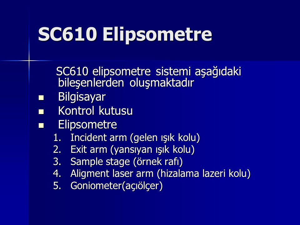 SC610 Elipsometre SC610 elipsometre sistemi aşağıdaki bileşenlerden oluşmaktadır SC610 elipsometre sistemi aşağıdaki bileşenlerden oluşmaktadır Bilgis