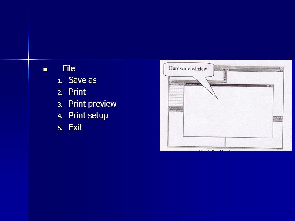 File File 1. Save as 2. Print 3. Print preview 4. Print setup 5. Exit