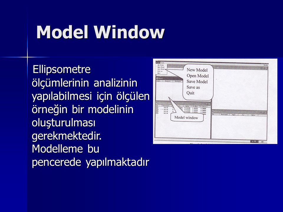 Model Window Ellipsometre ölçümlerinin analizinin yapılabilmesi için ölçülen örneğin bir modelinin oluşturulması gerekmektedir. Modelleme bu pencerede