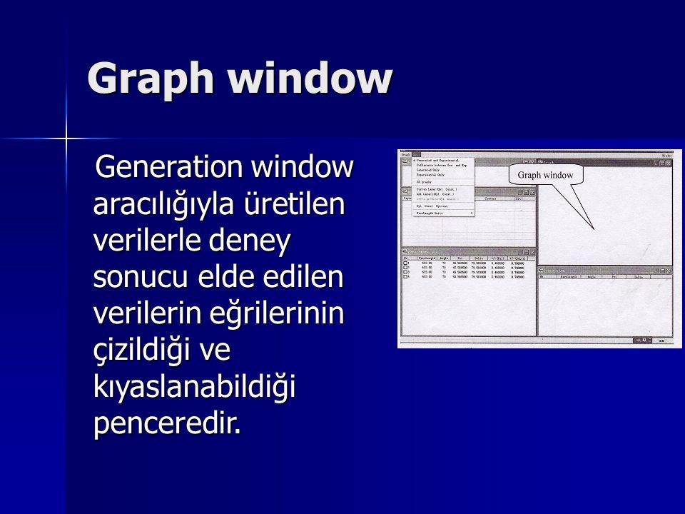 Graph window Generation window aracılığıyla üretilen verilerle deney sonucu elde edilen verilerin eğrilerinin çizildiği ve kıyaslanabildiği penceredir