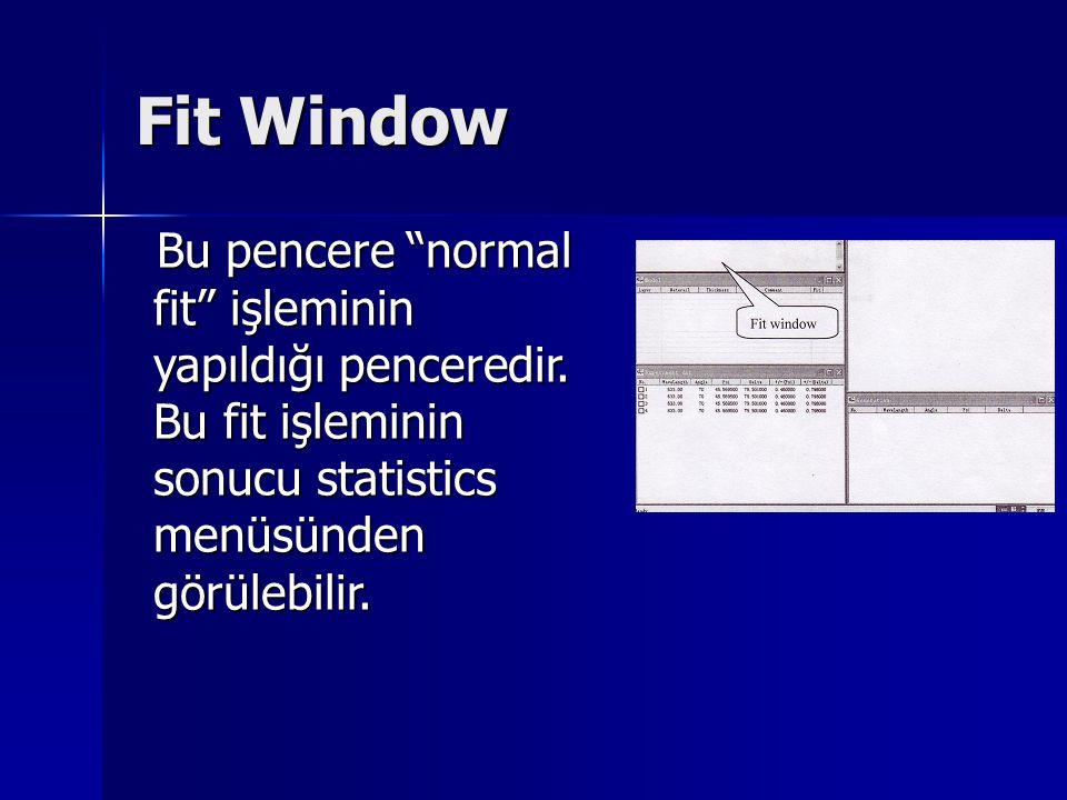 "Fit Window Bu pencere ""normal fit"" işleminin yapıldığı penceredir. Bu fit işleminin sonucu statistics menüsünden görülebilir. Bu pencere ""normal fit"""