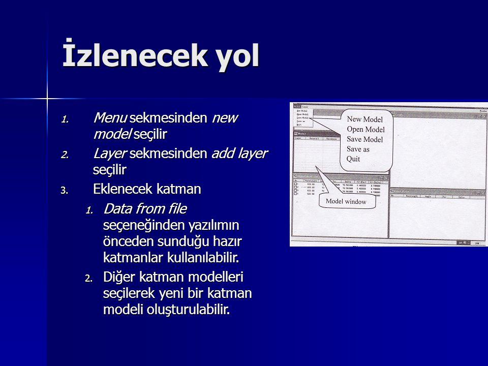 İzlenecek yol 1. Menu sekmesinden new model seçilir 2. Layer sekmesinden add layer seçilir 3. Eklenecek katman 1. Data from file seçeneğinden yazılımı