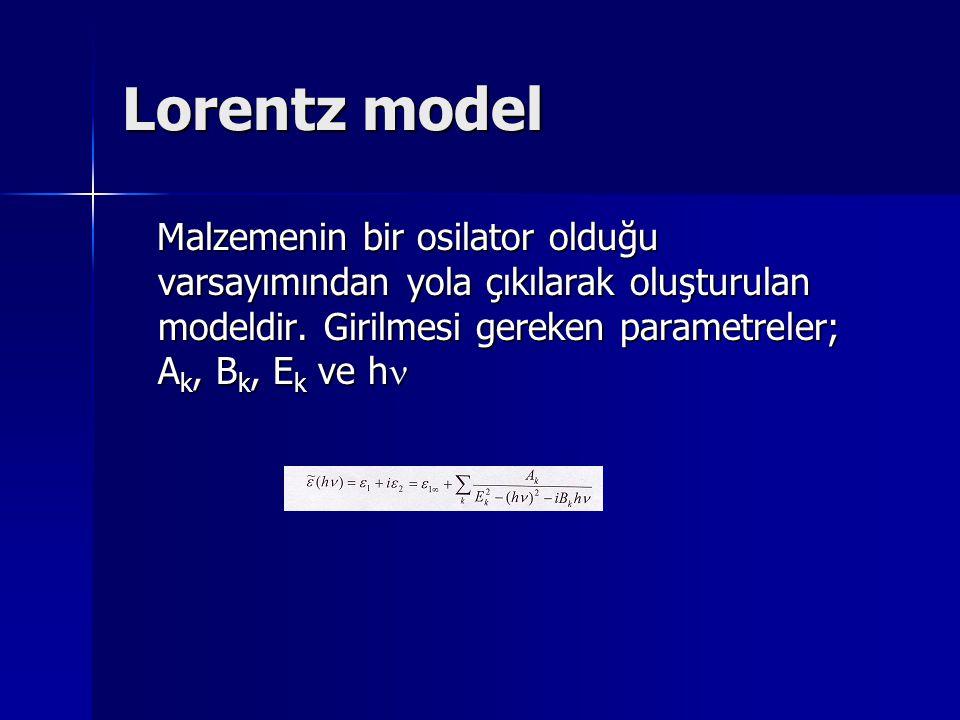 Lorentz model Malzemenin bir osilator olduğu varsayımından yola çıkılarak oluşturulan modeldir. Girilmesi gereken parametreler; A k, B k, E k ve h Mal