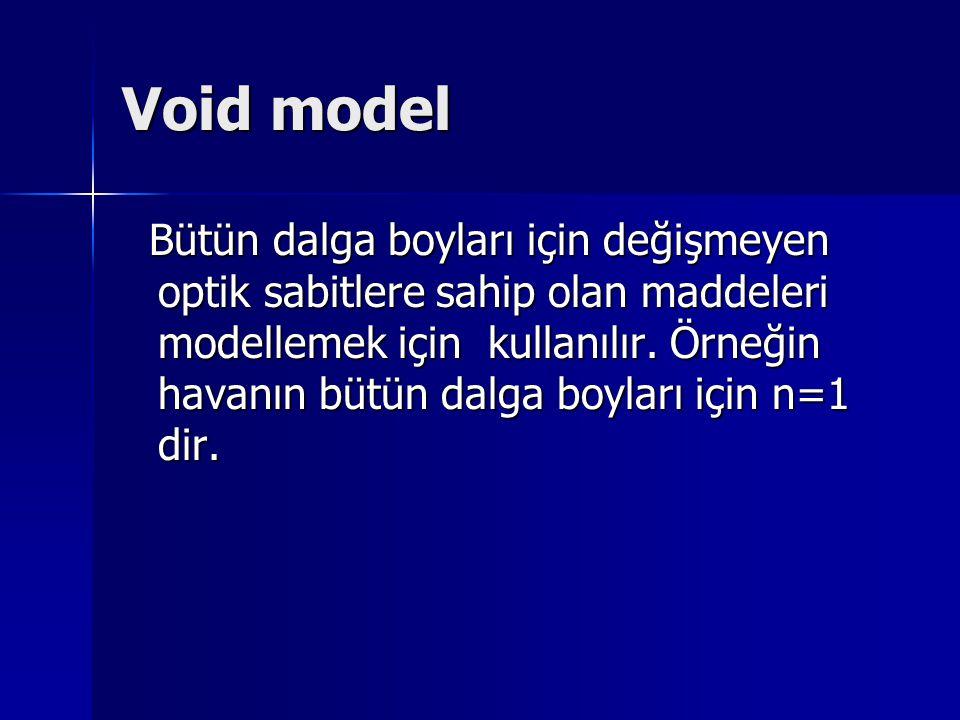 Void model Bütün dalga boyları için değişmeyen optik sabitlere sahip olan maddeleri modellemek için kullanılır. Örneğin havanın bütün dalga boyları iç
