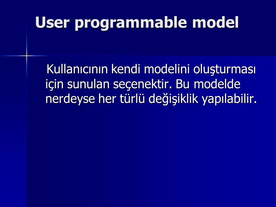 User programmable model Kullanıcının kendi modelini oluşturması için sunulan seçenektir. Bu modelde nerdeyse her türlü değişiklik yapılabilir. Kullanı