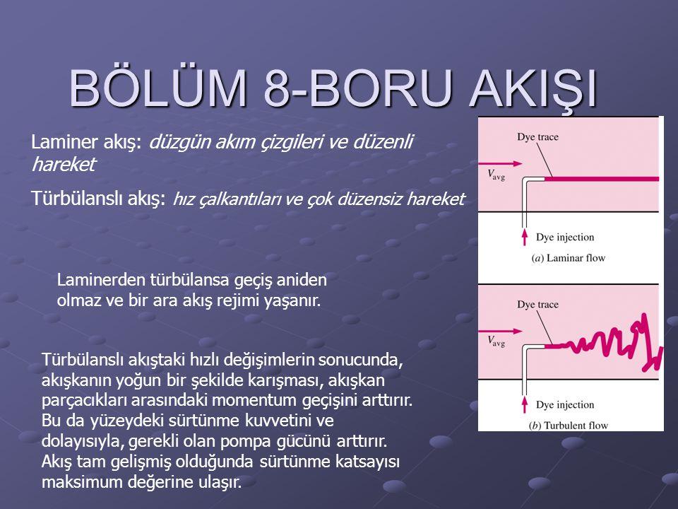 BÖLÜM 8-BORU AKIŞI Laminer akış: düzgün akım çizgileri ve düzenli hareket Türbülanslı akış: hız çalkantıları ve çok düzensiz hareket Laminerden türbül