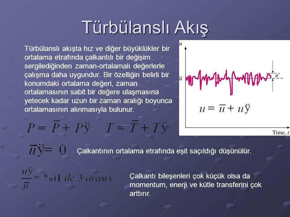 Türbülanslı Akış Türbülanslı akışta hız ve diğer büyüklükler bir ortalama etrafında çalkantılı bir değişim sergilediğinden zaman-ortalamalı değerlerle