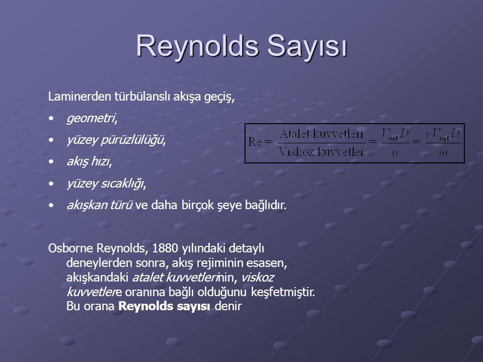 Reynolds Sayısı Laminerden türbülanslı akışa geçiş, geometri, yüzey pürüzlülüğü, akış hızı, yüzey sıcaklığı, akışkan türü ve daha birçok şeye bağlıdır