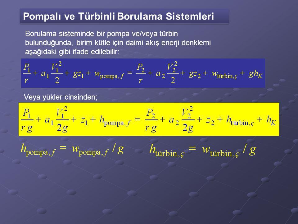 Pompalı ve Türbinli Borulama Sistemleri Borulama sisteminde bir pompa ve/veya türbin bulunduğunda, birim kütle için daimi akış enerji denklemi aşağıda