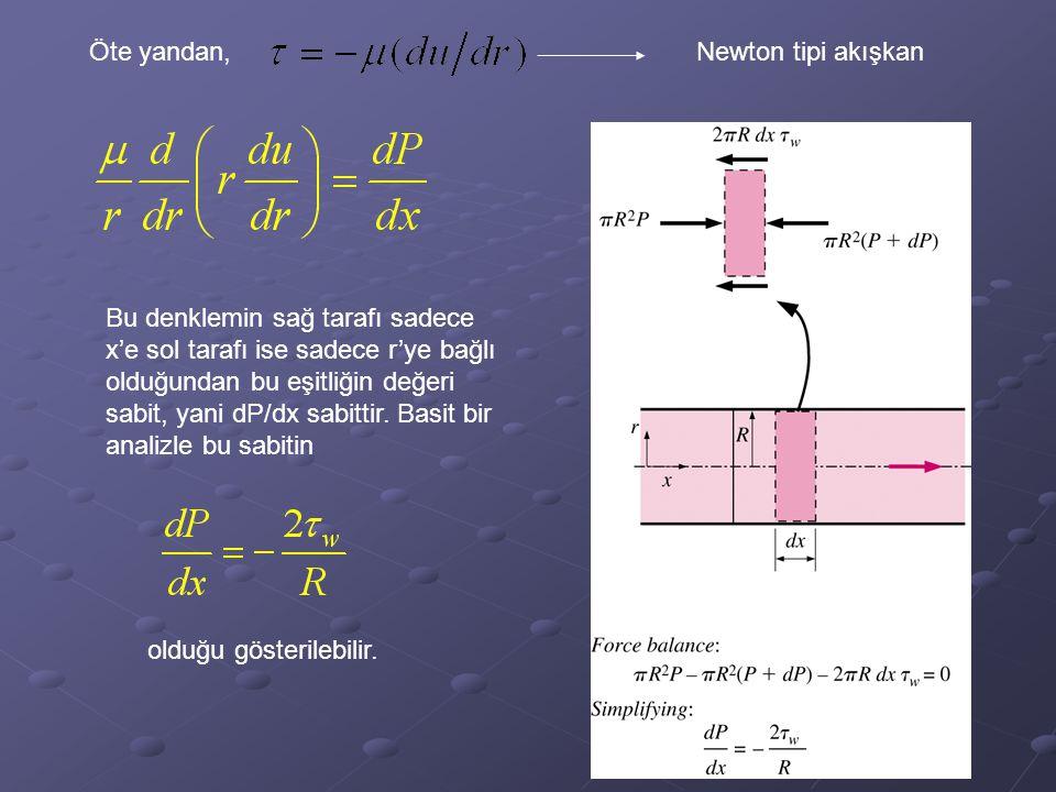 Öte yandan,Newton tipi akışkan Bu denklemin sağ tarafı sadece x'e sol tarafı ise sadece r'ye bağlı olduğundan bu eşitliğin değeri sabit, yani dP/dx sa