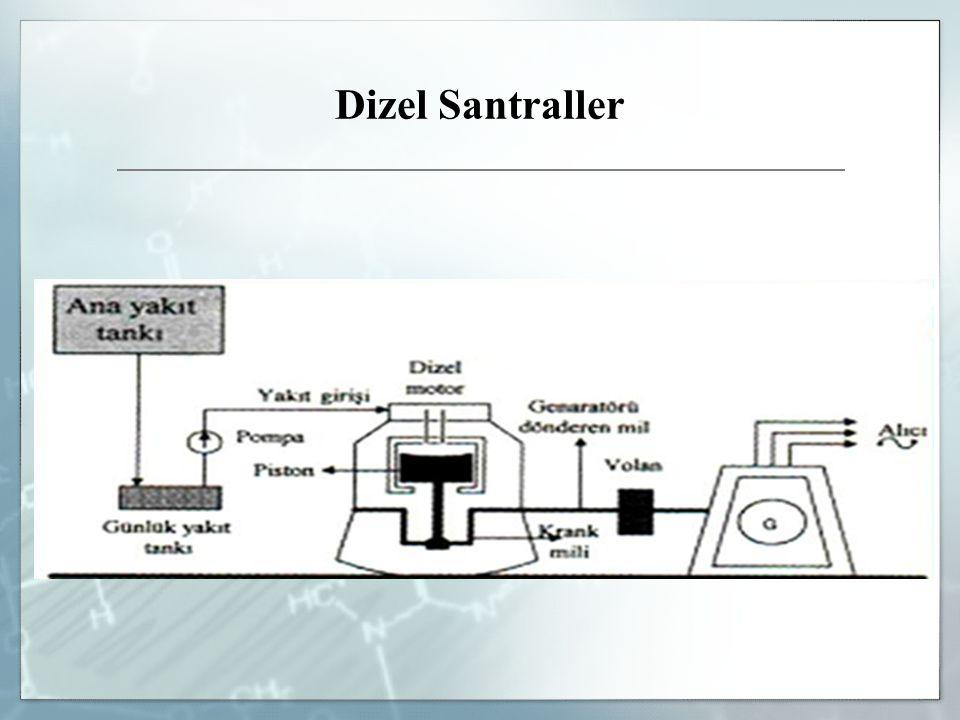 Dizel santrallerde yakıt olarak mazot kullanılır.