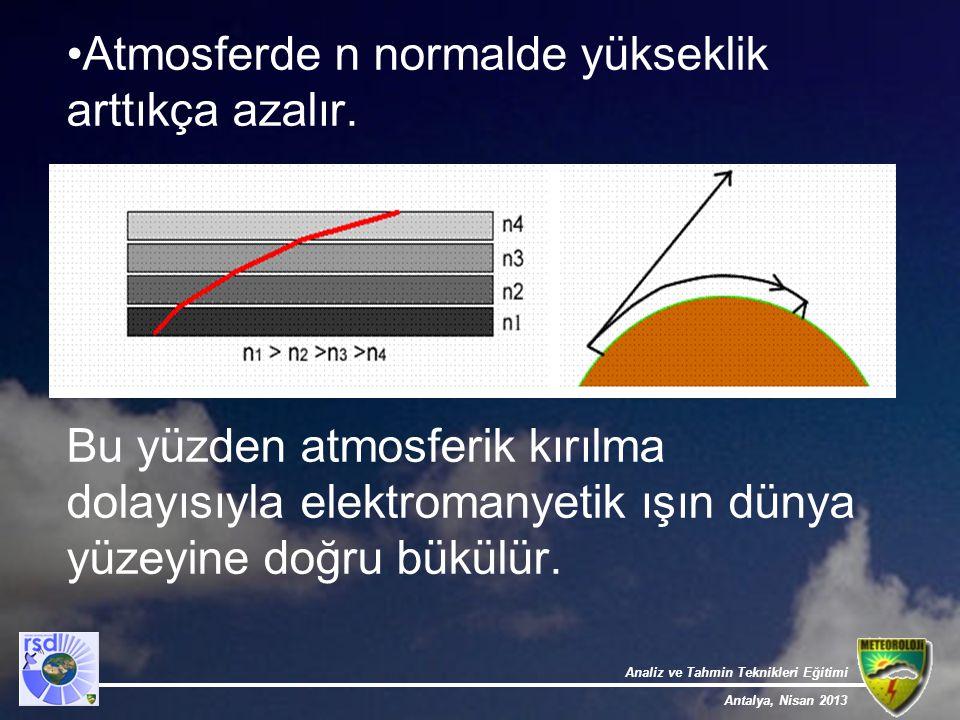Analiz ve Tahmin Teknikleri Eğitimi Antalya, Nisan 2013 Atmosferde n normalde yükseklik arttıkça azalır. Bu yüzden atmosferik kırılma dolayısıyla elek