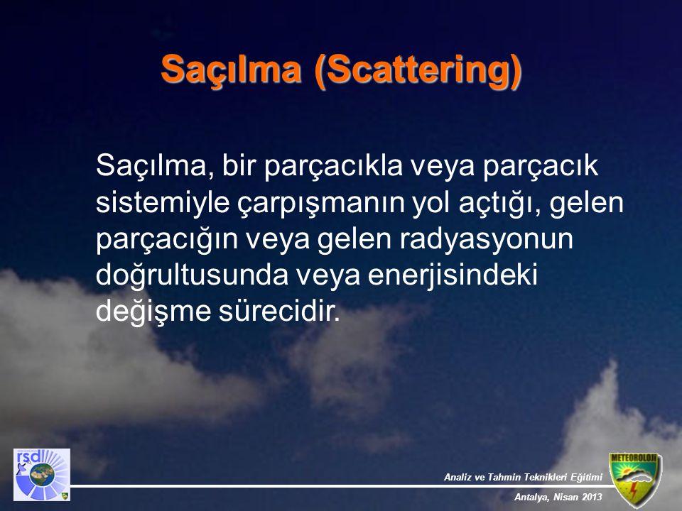 Analiz ve Tahmin Teknikleri Eğitimi Antalya, Nisan 2013 Saçılma (Scattering) Saçılma, bir parçacıkla veya parçacık sistemiyle çarpışmanın yol açtığı,