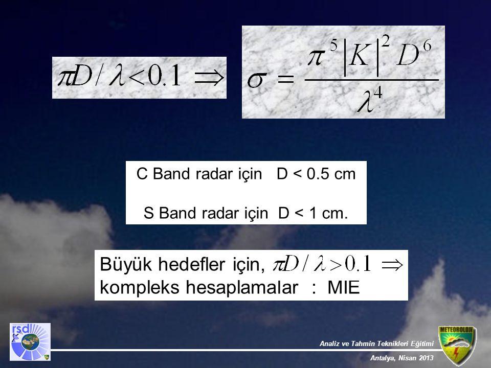 Analiz ve Tahmin Teknikleri Eğitimi Antalya, Nisan 2013 C Band radar için D < 0.5 cm S Band radar için D < 1 cm. Büyük hedefler için, kompleks hesapla