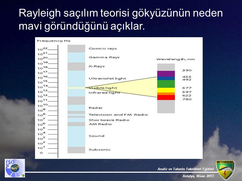 Analiz ve Tahmin Teknikleri Eğitimi Antalya, Nisan 2013 Rayleigh saçılım teorisi gökyüzünün neden mavi göründüğünü açıklar.