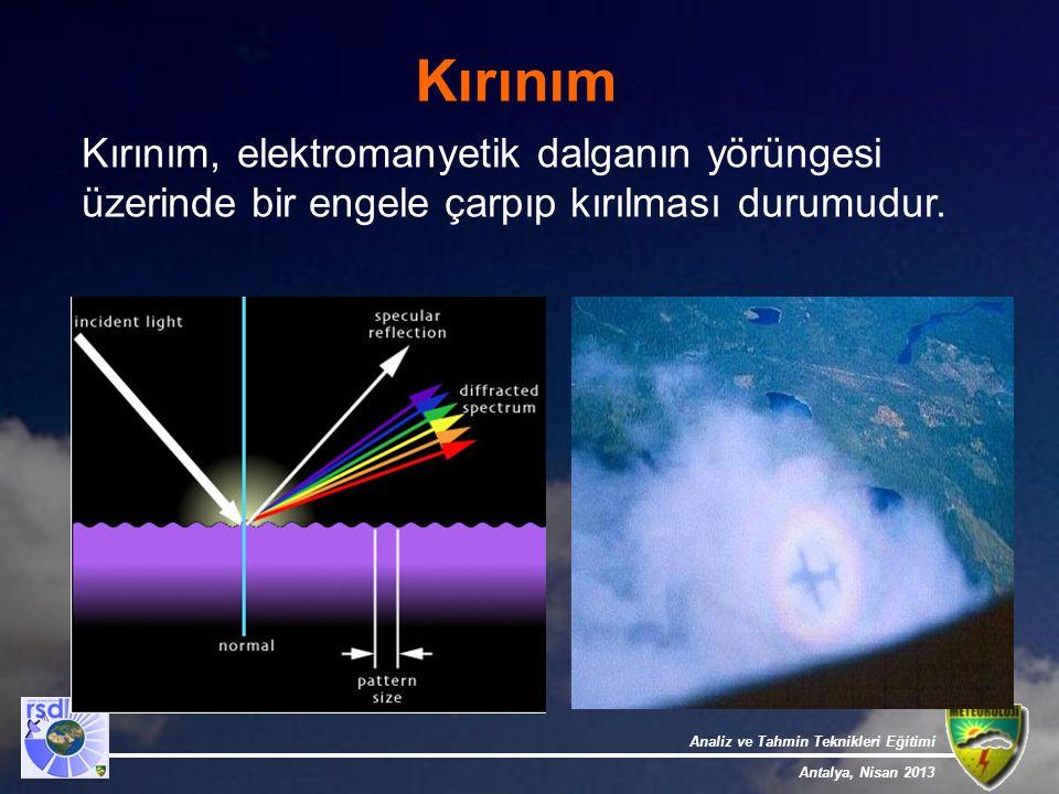 Analiz ve Tahmin Teknikleri Eğitimi Antalya, Nisan 2013 Kırınım Kırınım, elektromanyetik dalganın yörüngesi üzerinde bir engele çarpıp kırılması durum