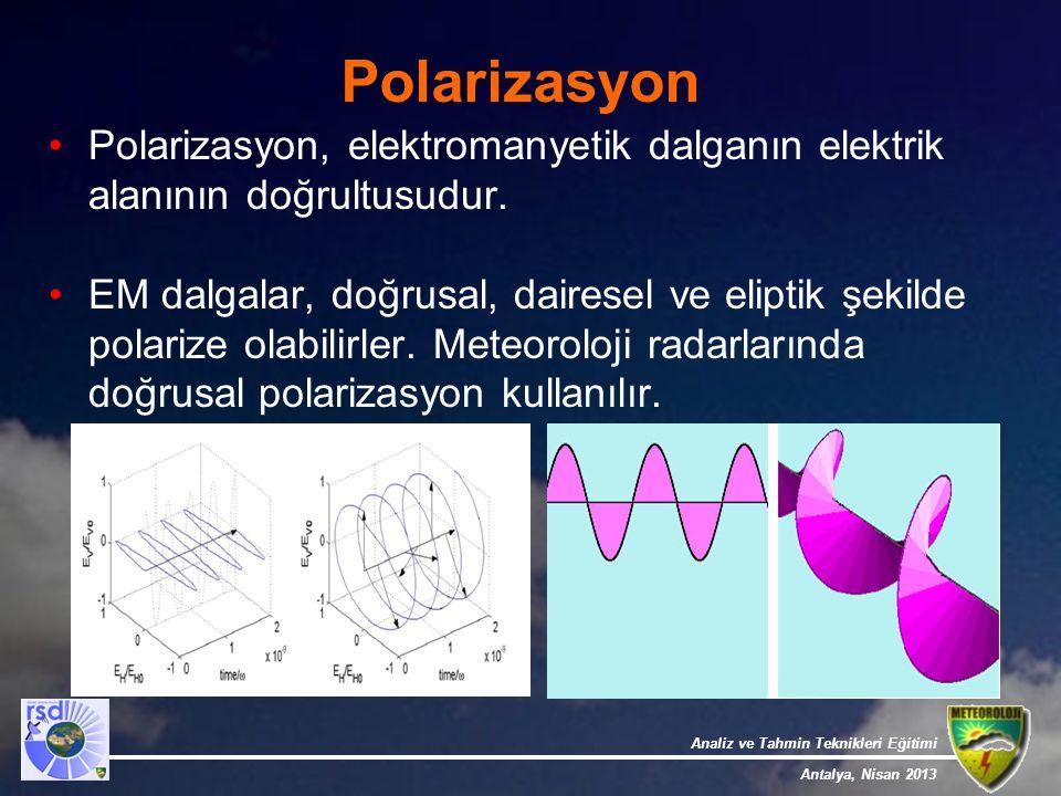 Analiz ve Tahmin Teknikleri Eğitimi Antalya, Nisan 2013 Polarizasyon Polarizasyon, elektromanyetik dalganın elektrik alanının doğrultusudur. EM dalgal