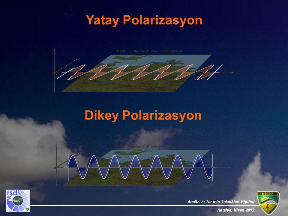 Analiz ve Tahmin Teknikleri Eğitimi Antalya, Nisan 2013 27 Yatay Polarizasyon Dikey Polarizasyon