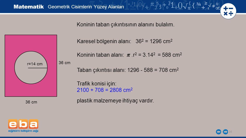 16 Koninin taban çıkıntısının alanını bulalım. Geometrik Cisimlerin Yüzey Alanları r=14 cm 36 cm Karesel bölgenin alanı: 36 2 = 1296 cm 2 Trafik konis