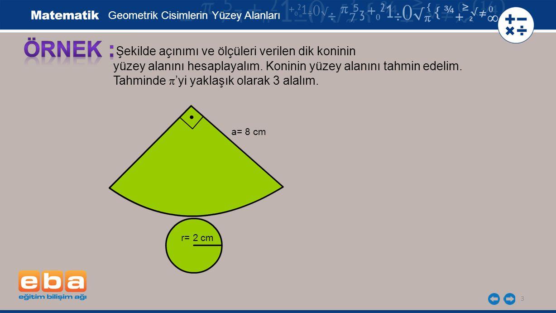 3 Şekilde açınımı ve ölçüleri verilen dik koninin yüzey alanını hesaplayalım. Koninin yüzey alanını tahmin edelim. Tahminde π 'yi yaklaşık olarak 3 al