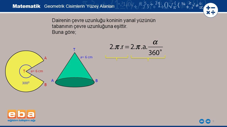 9 Dairenin çevre uzunluğu koninin yanal yüzünün tabanının çevre uzunluğuna eşittir. Buna göre; Geometrik Cisimlerin Yüzey Alanları a= 6 cm A B T A B T