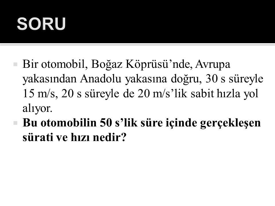  Bir otomobil, Boğaz Köprüsü'nde, Avrupa yakasından Anadolu yakasına doğru, 30 s süreyle 15 m/s, 20 s süreyle de 20 m/s'lik sabit hızla yol alıyor. 