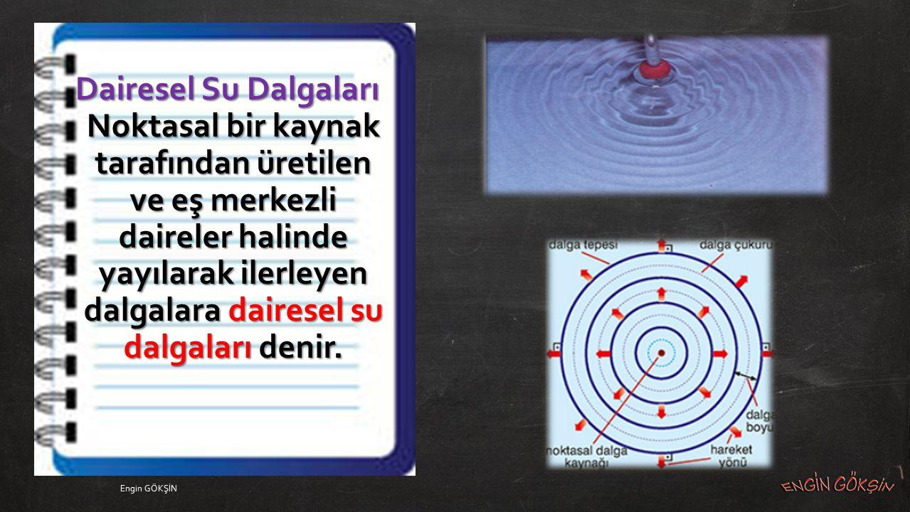 Dairesel Su Dalgaları Noktasal bir kaynak tarafından üretilen ve eş merkezli daireler halinde yayılarak ilerleyen dalgalara dairesel su dalgaları denir.