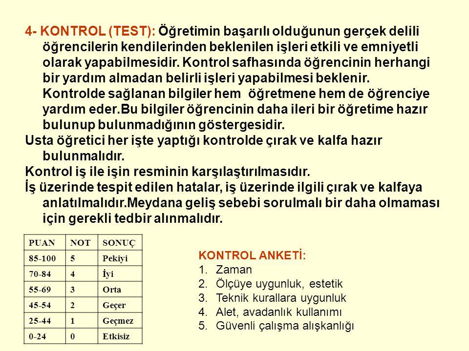 4- KONTROL (TEST): Öğretimin başarılı olduğunun gerçek delili öğrencilerin kendilerinden beklenilen işleri etkili ve emniyetli olarak yapabilmesidir.