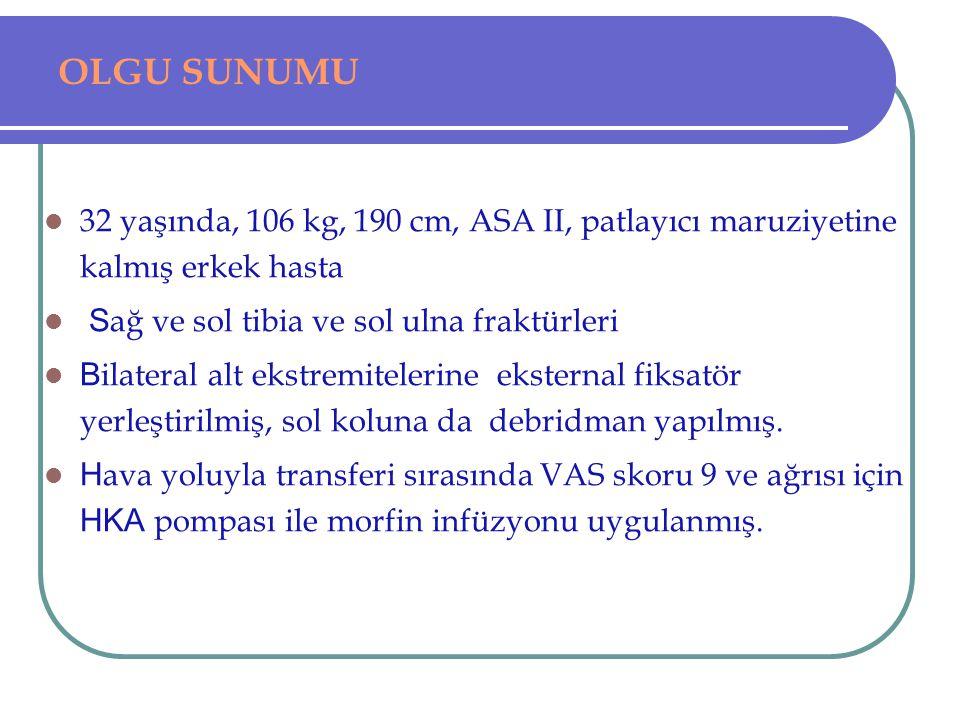 OLGU SUNUMU 32 yaşında, 106 kg, 190 cm, ASA II, patlayıcı maruziyetine kalmış erkek hasta S ağ ve sol tibia ve sol ulna fraktürleri B ilateral alt eks
