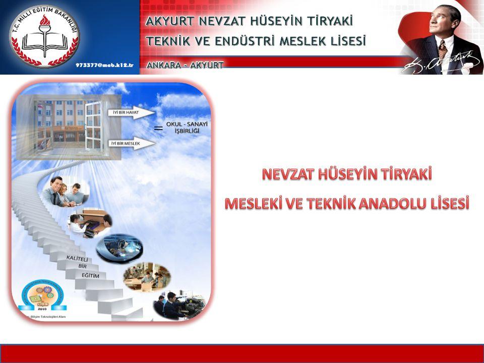 MİSYONUMUZ, VİZYONUMUZ, TEMEL İLKE VE DEĞERLERİMİZ Atatürk ilke ve inkılâplarının rehberliğinde; sanayici, veli, esnaf ve sanatkârlarıyla birlikte ahlaklı, disiplinli, başarılı, saygılı, üretken, teknolojiyi kullanabilen ve kendini sürekli yenileyen bireyler yetiştirmektir.