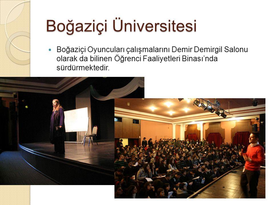 Boğaziçi Üniversitesi Boğaziçi Oyuncuları çalışmalarını Demir Demirgil Salonu olarak da bilinen Öğrenci Faaliyetleri Binası'nda sürdürmektedir.