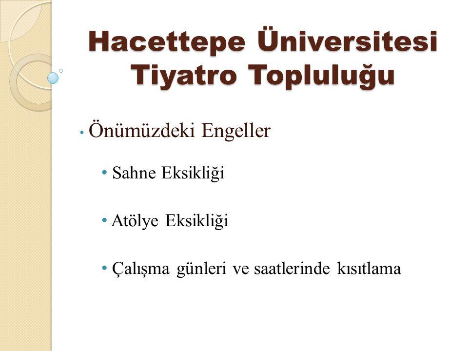 Hacettepe Üniversitesi Tiyatro Topluluğu Önümüzdeki Engeller Sahne Eksikliği Atölye Eksikliği Çalışma günleri ve saatlerinde kısıtlama
