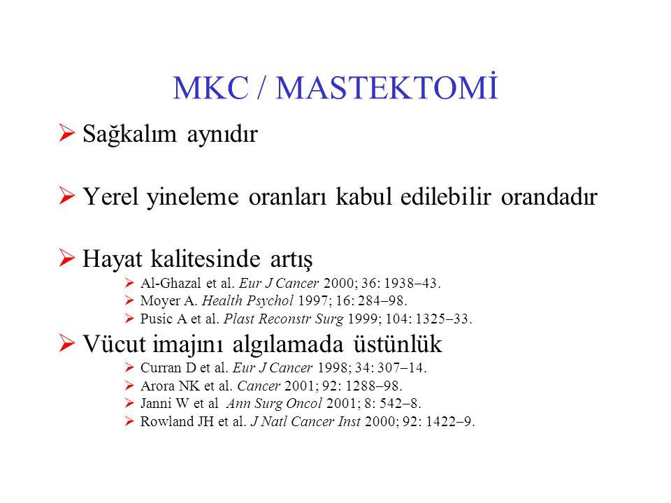 MKC / MASTEKTOMİ  Sağkalım aynıdır  Yerel yineleme oranları kabul edilebilir orandadır  Hayat kalitesinde artış  Al-Ghazal et al.