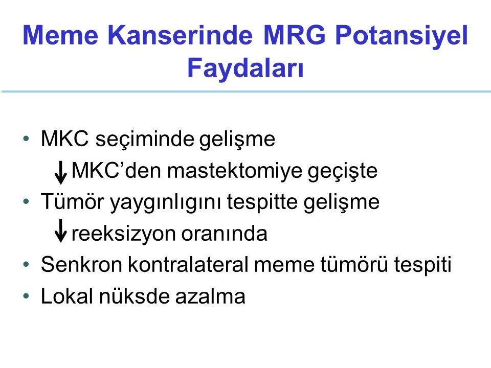 Meme Kanserinde MRG Potansiyel Faydaları MKC seçiminde gelişme MKC'den mastektomiye geçişte Tümör yaygınlıgını tespitte gelişme reeksizyon oranında Senkron kontralateral meme tümörü tespiti Lokal nüksde azalma