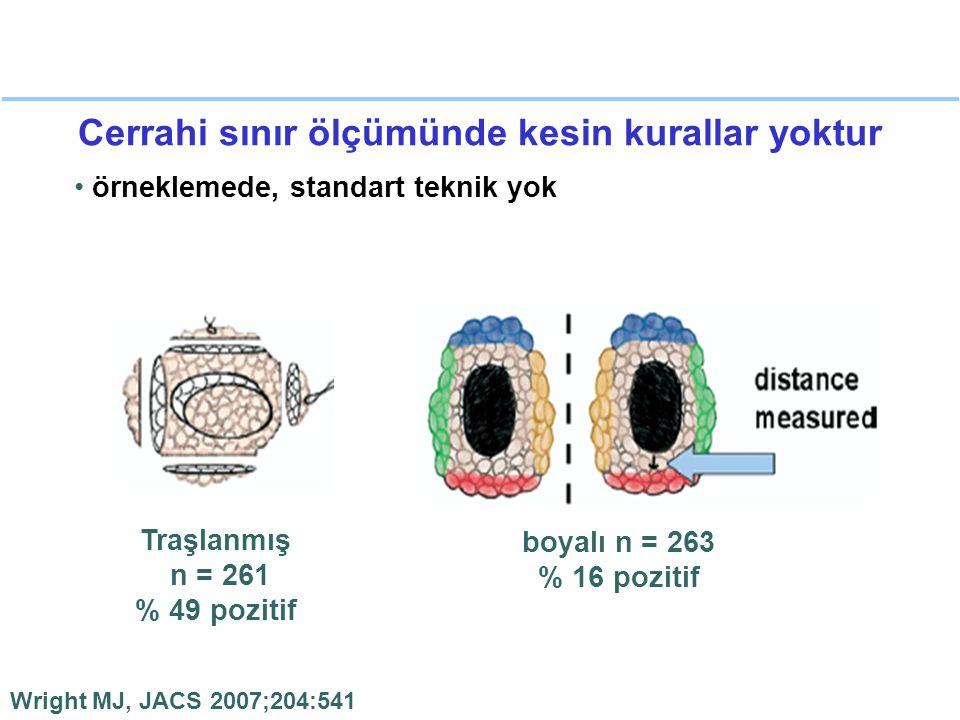 Cerrahi sınır ölçümünde kesin kurallar yoktur örneklemede, standart teknik yok Wright MJ, JACS 2007;204:541 Traşlanmış n = 261 % 49 pozitif boyalı n =