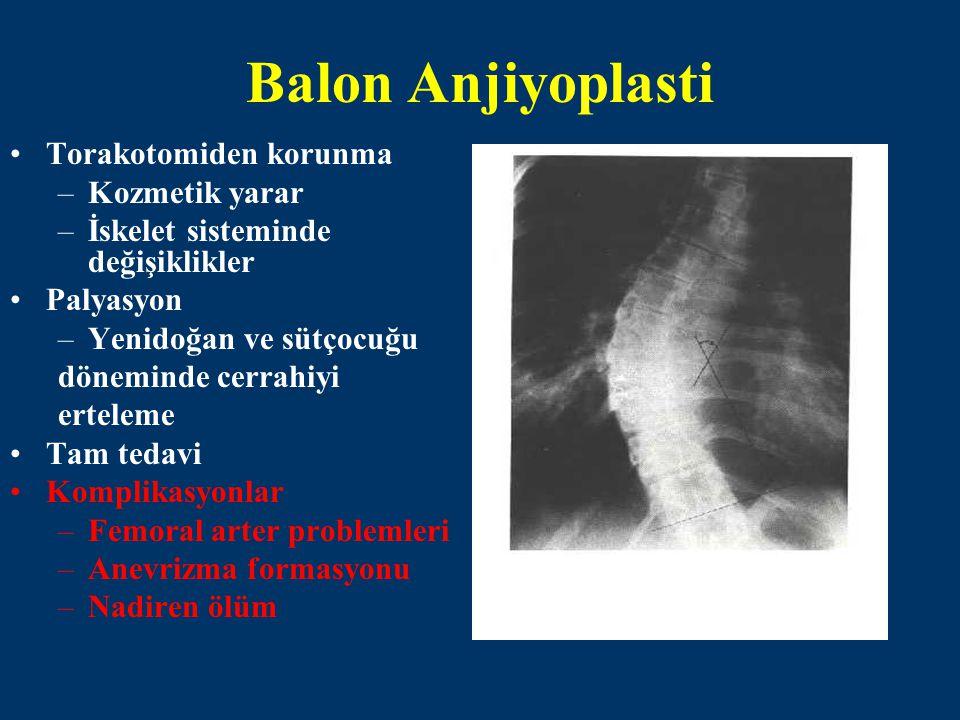 Balon Anjiyoplasti Torakotomiden korunma –Kozmetik yarar –İskelet sisteminde değişiklikler Palyasyon –Yenidoğan ve sütçocuğu döneminde cerrahiyi ertel