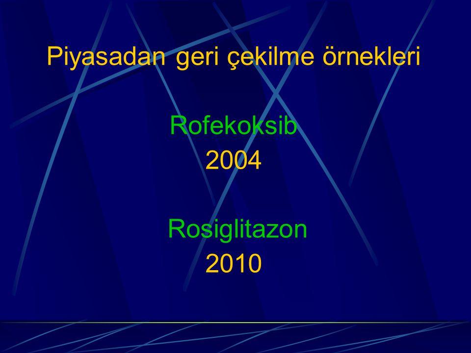 Piyasadan geri çekilme örnekleri Rofekoksib 2004 Rosiglitazon 2010