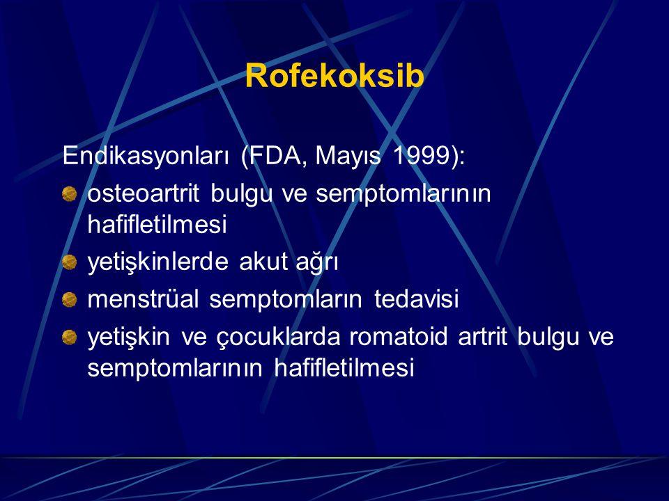 Rofekoksib Endikasyonları (FDA, Mayıs 1999): osteoartrit bulgu ve semptomlarının hafifletilmesi yetişkinlerde akut ağrı menstrüal semptomların tedavisi yetişkin ve çocuklarda romatoid artrit bulgu ve semptomlarının hafifletilmesi