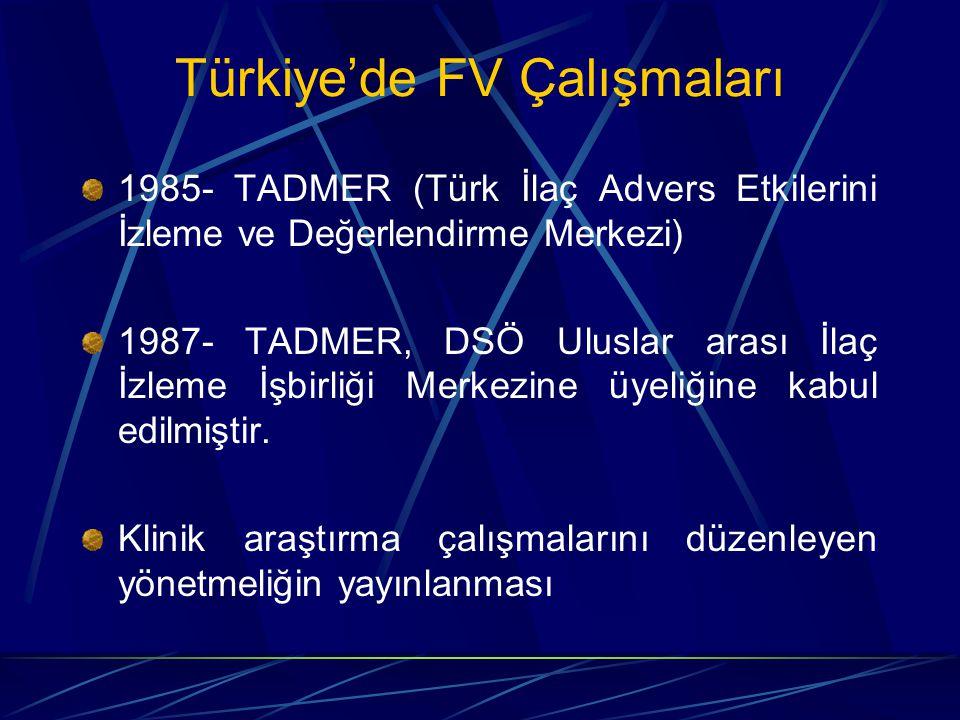 Türkiye'de FV Çalışmaları 1985- TADMER (Türk İlaç Advers Etkilerini İzleme ve Değerlendirme Merkezi) 1987- TADMER, DSÖ Uluslar arası İlaç İzleme İşbirliği Merkezine üyeliğine kabul edilmiştir.