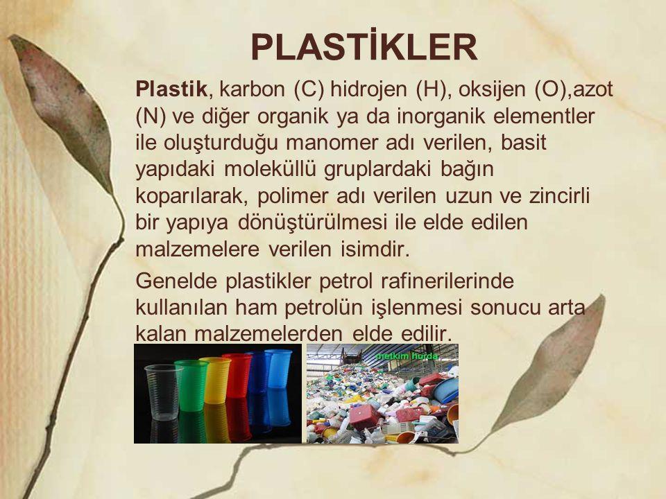 PLASTİKLER Plastik, karbon (C) hidrojen (H), oksijen (O),azot (N) ve diğer organik ya da inorganik elementler ile oluşturduğu manomer adı verilen, bas