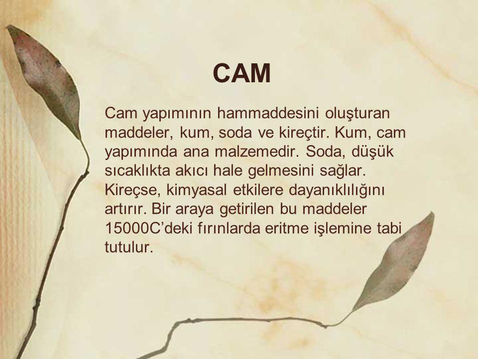CAM Cam yapımının hammaddesini oluşturan maddeler, kum, soda ve kireçtir. Kum, cam yapımında ana malzemedir. Soda, düşük sıcaklıkta akıcı hale gelmesi